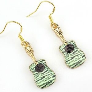 Green Guitar Music Dangle Earrings
